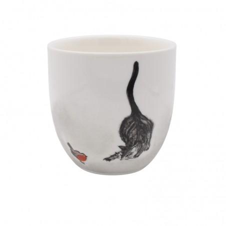 Tasse chat aux aguets Séverine Soulat artiste-peintre sur porcelaine