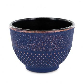 Tasse en fonte, bleue et dorée