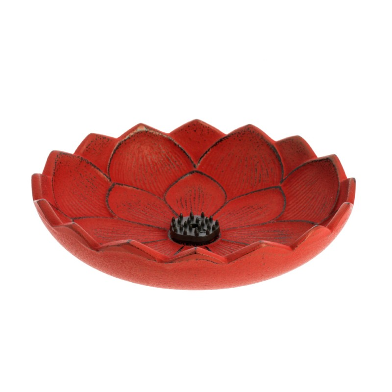 ûle encens Fleur de lotus, en fonte du Japon, rouge