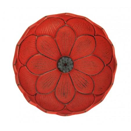 Brûle encens Fleur de lotus, en fonte du Japon, rouge