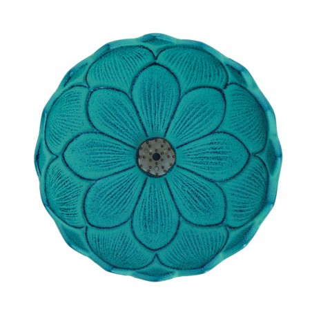 Brûle encens Fleur de lotus, en fonte du Japon, bleu turquoise