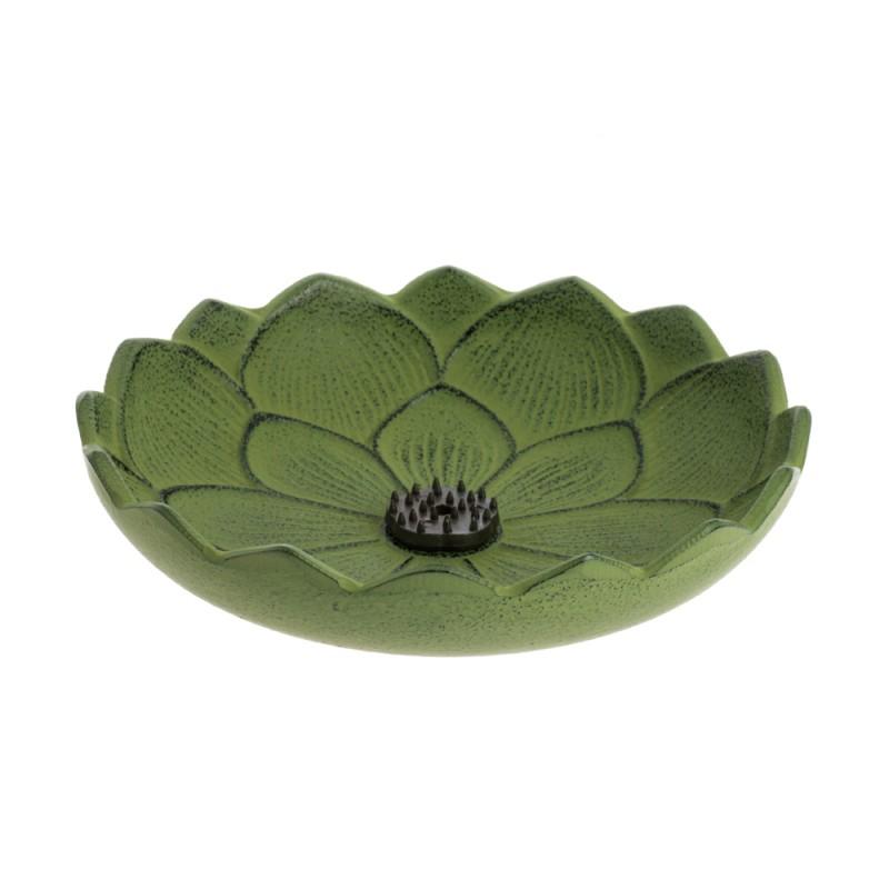 ûle encens Fleur de lotus, en fonte du Japon, vert