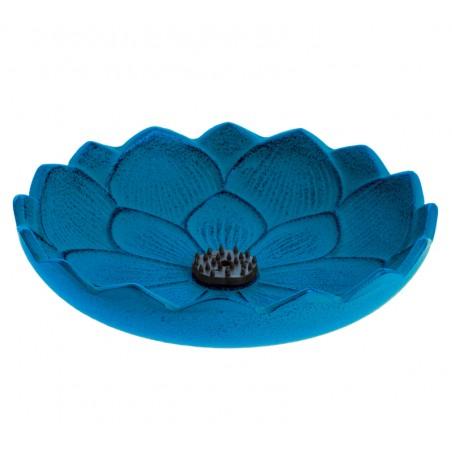 Brûle encens Fleur de lotus, en fonte du Japon, bleu