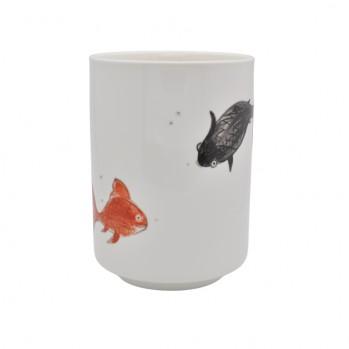 Mug « la farandole des poissons », Séverine Soulat artiste-peintre sur porcelaine