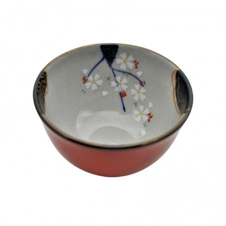 Tasse à thé rouge motif fleurs