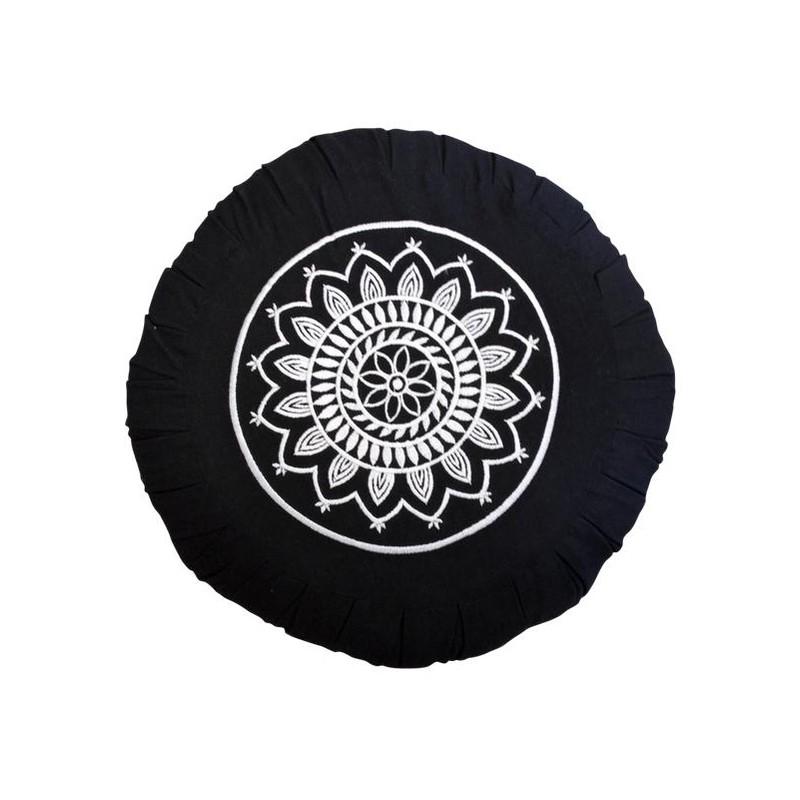 Zafu noir motif Mandala