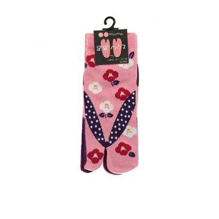 Chaussettes japonaises (tabi) rose, Motif Fleurs, 37-40