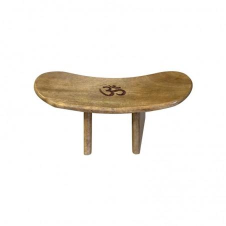 Banc de méditation en bois de manguier (verni) gravé avec le symbole Om.