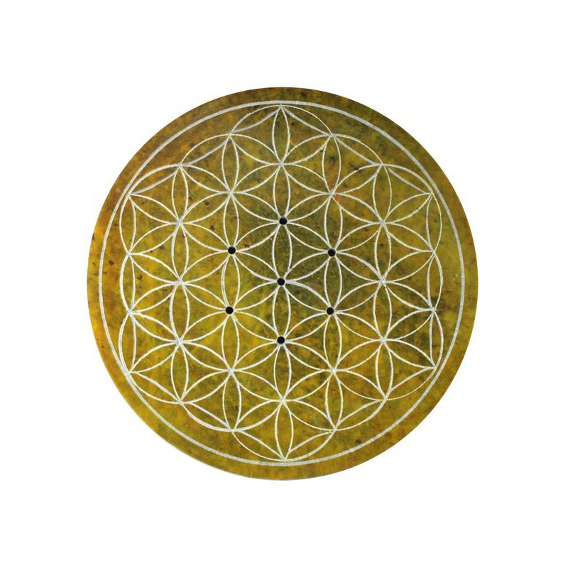 Porte-encens en pierre, gravé Fleur de vie, ambre